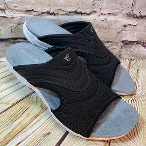 Easy Spirit Black Open Toe Slip On Sandals Sz 5.5